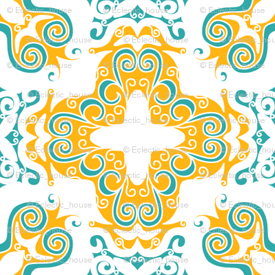 Spanish Scrolly Tile in White Orange and Aqua