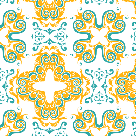 Spanish Scrolly Tile in White Orange and Aqua fabric by eclectic_house on Spoonflower - custom fabric