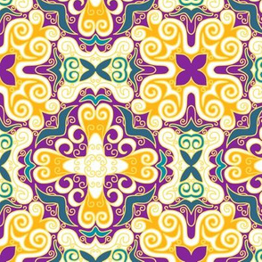 Spanish Scrolly Tile in Purple Orange and Teal Blue