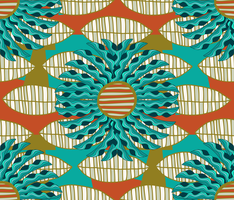 African Leaf Mandala fabric by fernlesliestudio on Spoonflower - custom fabric