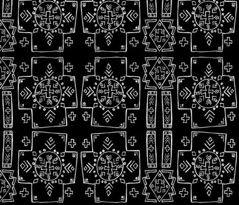 Mali Cross Mudcloth in Black, Medium fabric by palifino on Spoonflower - custom fabric