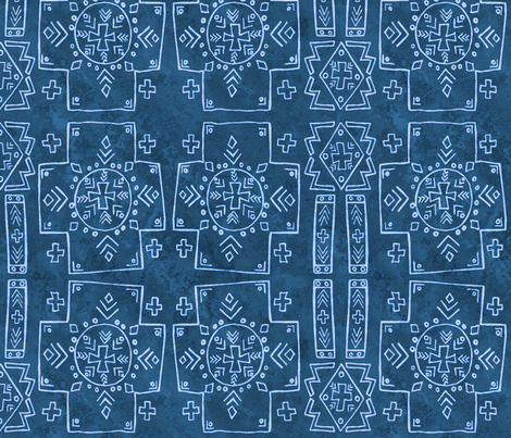 Mali Cross Mud cloth, Blue Jean, Medium fabric by palifino on Spoonflower - custom fabric