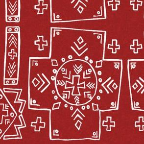 Mali Cross Mud cloth in Red, Medium