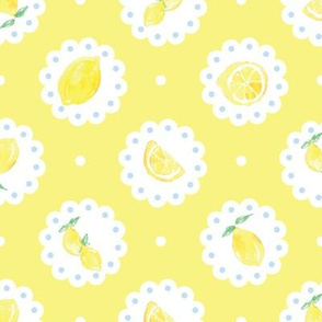 Lemons on Doilies Summer Lemon Yellow