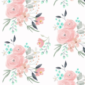 Secret Garden / White / Pastel floral flowers / blush pink aqua mint gray