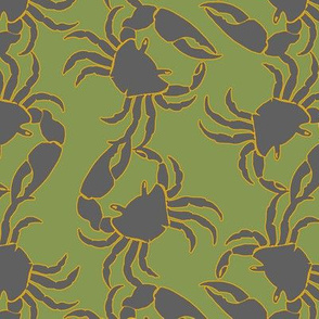 crabs gray on green
