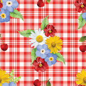 Cherries and Flowers on Red Plaid