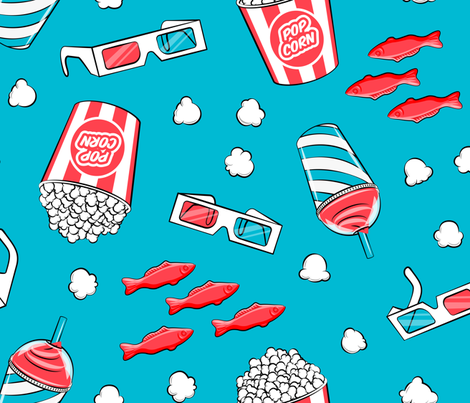 movie time - large scale on  blue fabric by littlearrowdesign on Spoonflower - custom fabric