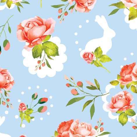 Vintage Easter Floral Bunnies fabric by twodreamsshop on Spoonflower - custom fabric