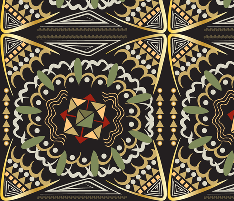 Kalahari Kaleidoscope, African inspired geometric pattern fabric by applebutterpattycake on Spoonflower - custom fabric