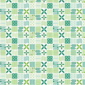 Quilted Green Pattern of Florals