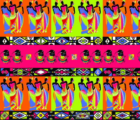 Ndebele inspired African Princesses. fabric by teal_feather on Spoonflower - custom fabric