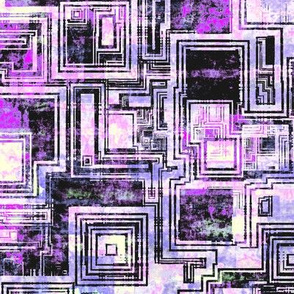 Abstract squares maze, Magenta, medium