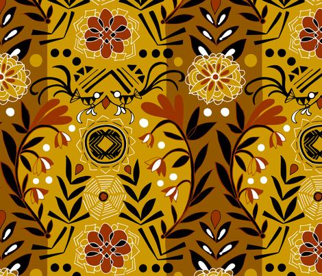 Mali Sun and Web Mudcloth fabric by cynla on Spoonflower - custom fabric