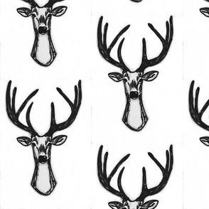 Modern Trendy Hipster Woodland Sketchy Hipster Buck Stag Deer Antlers