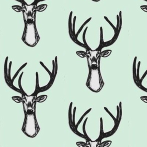 Modern Trendy Hipster Woodland Mint Sketchy Hipster Buck Stag Deer Antlers-ch-ch-ch-ch