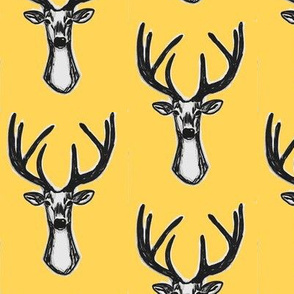 Modern Trendy Yellow Sketchy Hipster Buck Stag Deer Antlers-ch-ch-ch-ch-ch-ch-ch-ch