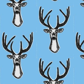 Sky blue Sketchy Hipster Buck Stag Deer Antlers-ch-ch-ch-ch-ch-ch-ch-ch-ch-ch
