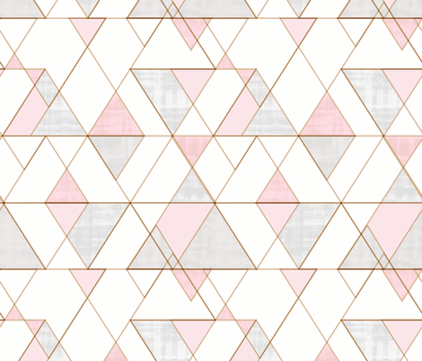 Mod Triangles Pink Gray fabric by crystal_walen on Spoonflower - custom fabric