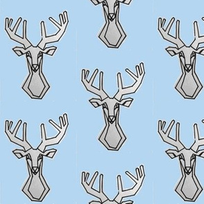 Light Sky Blue geometric Deer Buck Stag-ch-ch