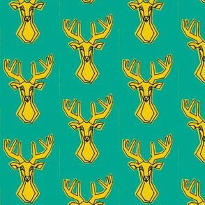Small teal and yellow geometric Deer Buck Stag-ch-ch-ch-ch-ch-ch-ch-ch-ch-ch-ch-ch-ch