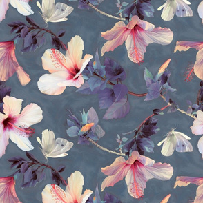 Butterflies and Hibiscus Flowers - a painted pattern ROTATED
