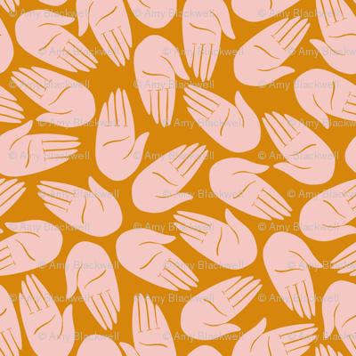 Hands - pink on mustard