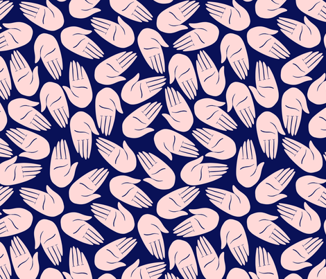 Hands - Pink and Indigo fabric by amyjpeg on Spoonflower - custom fabric