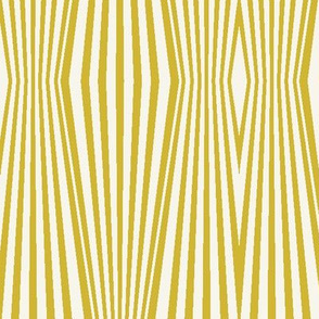 Zebra diamond op art stripes, mustard + off-white by Su_G
