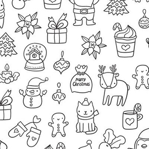 Merry Christmas pattern. Happy New year design. Coloring.