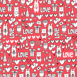 St Valentines romantic red pattern. Cute lovely bunny and cat.