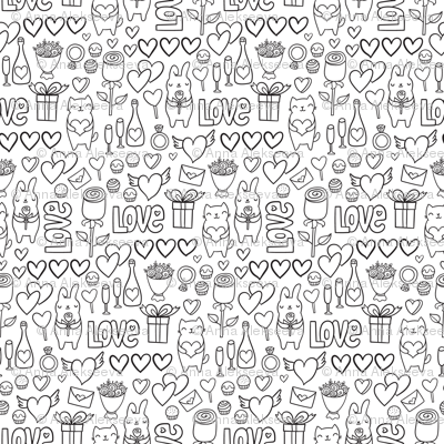 St Valentines romantic pattern. Cute lovely bunny and cat.