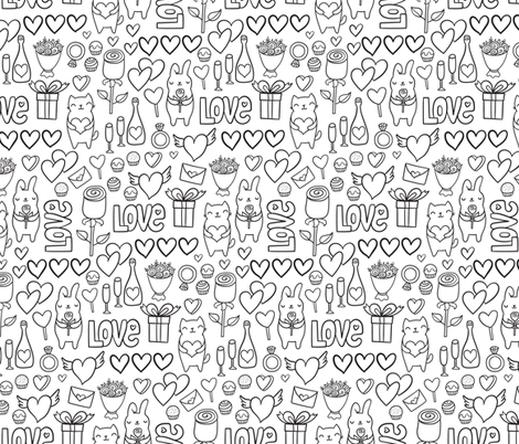 St Valentines romantic pattern. Cute lovely bunny and cat. fabric by kostolom3000 on Spoonflower - custom fabric