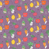 vegetables and fruits musicians and artists pattern on violet