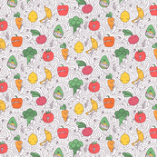 vegetables and fruits musicians and artists pattern on white