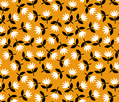 Small flowers on mustard fabric by amyjpeg on Spoonflower - custom fabric