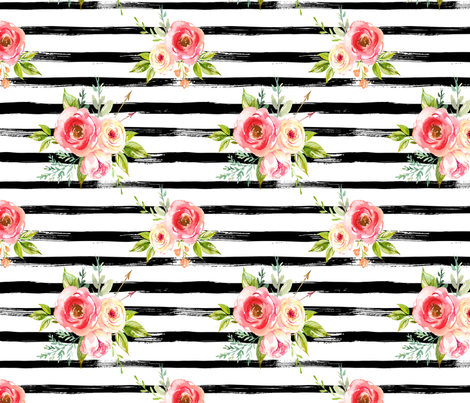 Natural Rose Florals Black And White Stripes Fabric