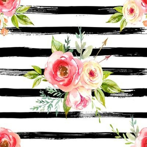 Natural Rose Florals // Black and White Stripes