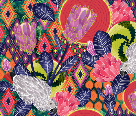 african protea fabric by michaelzindell on Spoonflower - custom fabric