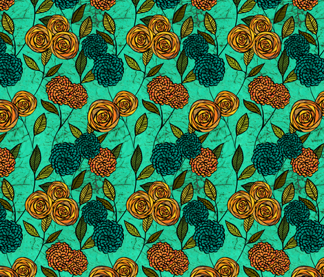 Turquoise Floral fabric by ceciliamok on Spoonflower - custom fabric