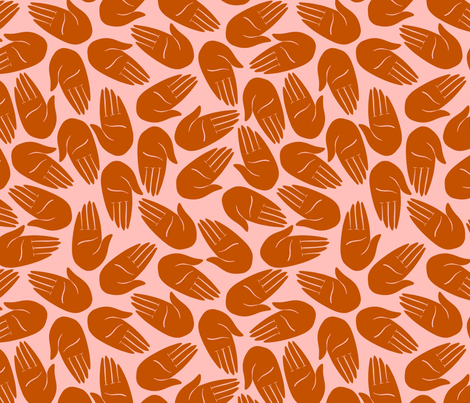 Hands - Rust and pink fabric by amyjpeg on Spoonflower - custom fabric