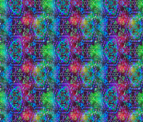 COLORFUL AFRICAN PRINT RAINBOW BREEZE HEXA SYMBOL ON BLUE fabric by paysmage on Spoonflower - custom fabric