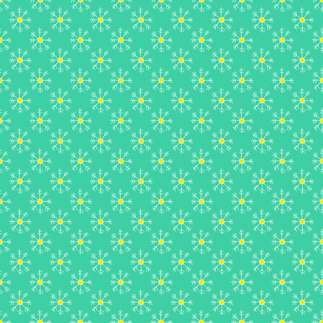 Teal, White and Yellow Snowflakes fabric by emmafreemandesigns on Spoonflower - custom fabric