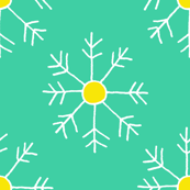 Teal, White and Yellow Snowflakes