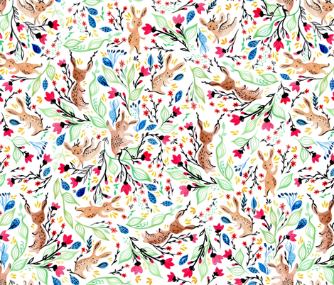 springbunnypattern fabric by gaiamarfurt on Spoonflower - custom fabric