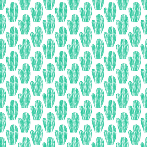 Teal and White Mittens fabric by emmafreemandesigns on Spoonflower - custom fabric