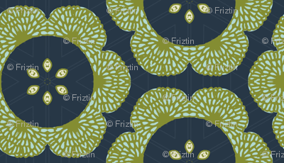 Big Bold Blooms M+M Navy by Friztin