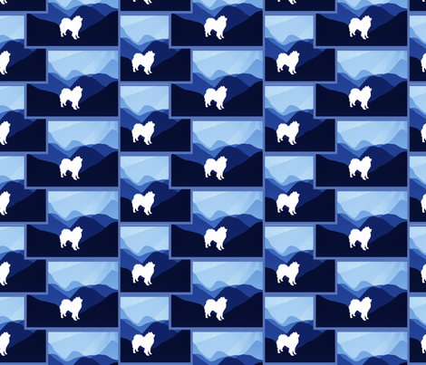 Blue Mountain Samoyed fabric by designs_by_lee_ on Spoonflower - custom fabric