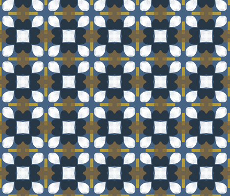 Retro Floral Spanish Tiles M+M Navy by Friztin fabric by friztin on Spoonflower - custom fabric