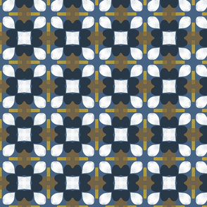 Retro Floral Spanish Tiles M+M Navy by Friztin